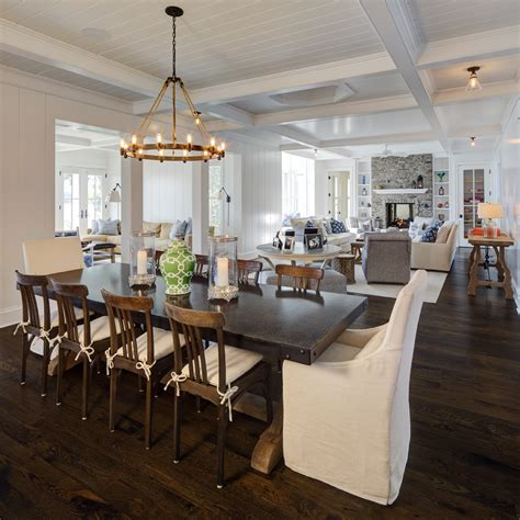 farm house table dining room with beam ceiling