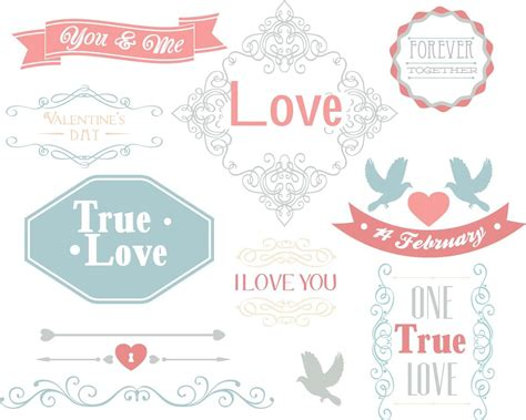 valentines day decorative elements set vector