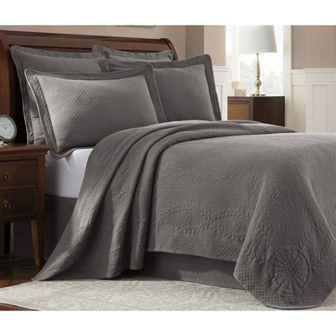 Grey King Coverlet by Royal Heritage Home Williamsburg Abby Grey King Coverlet