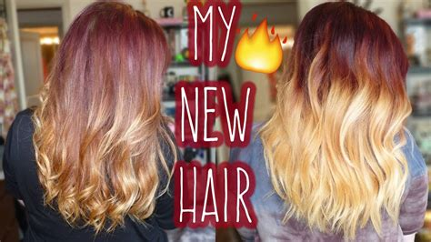 red balayage  fire red blonde ombre hair transformation
