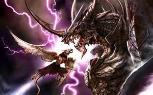 Warrior Fighting Dragon