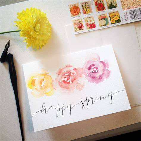 Maybe you would like to learn more about one of these? Watercolor Spring greeting card by @kindredcalligraphy | Valentines envelopes, Stationery ...