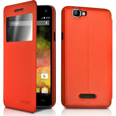 wiko housse de protection housse etui s view fonction support couleur orange pour wiko rainbow de protection new4tel