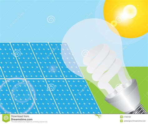 solar panels and eco light bulb illustration stock