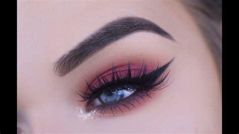 fall redcranberry eye makeup tutorial youtube