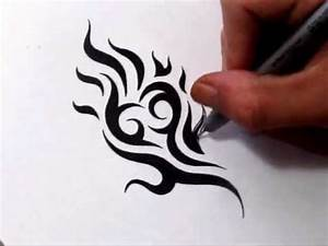 Drawing Tribal Heart and Flames - Cool Tattoo Design - YouTube