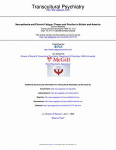 Pdf  Neurasthenia And Chronic Fatigue  Theory And Practice In Britain And America