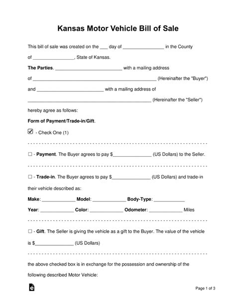 Boat Bill Of Sale Kansas by Free Kansas Vehicle Bill Of Sale Form Word Pdf