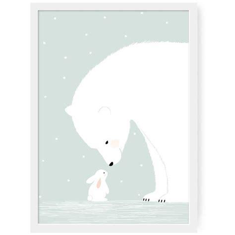 décoration chambre garçon bébé affiche chambre bébé zü affiche ours polaire et lapin blanc