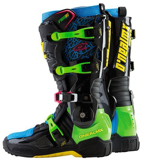 blue dirt bike boots o 39 neal mens neon blue green black rdx dirt bike boots mx