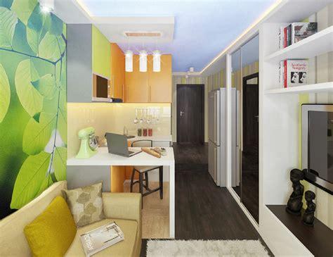 Яркий 3d проект маленькой квартирыгостинки 15 м