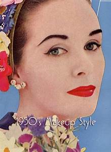 1950 makeup   1950s makeup: full red lips and heavy arched ...