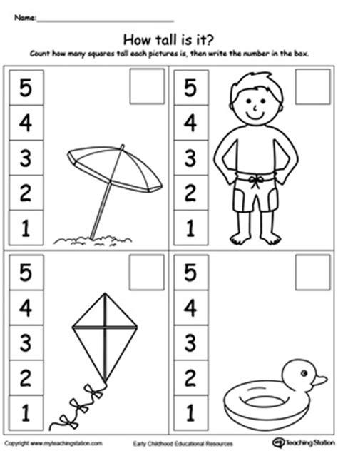 kindergarten measurement printable worksheets 553 | Measure the Height of Each Summer Item