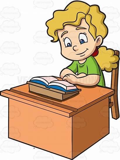 Clipart Student Reading Quietly Desk Sit Desks