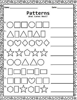 shape patterns worksheet  kindergarten st grade