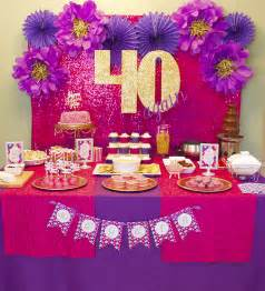 40 again 40th birthday celebration lots of gold glitter pink purple and diy