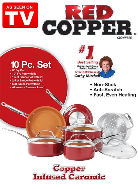 red copper  piece cookware set drleonardscom
