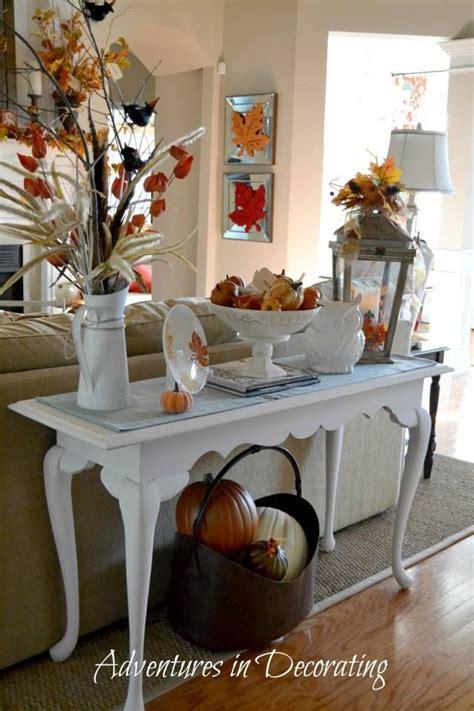 sofa table decor fall fall vignettes fall home decor