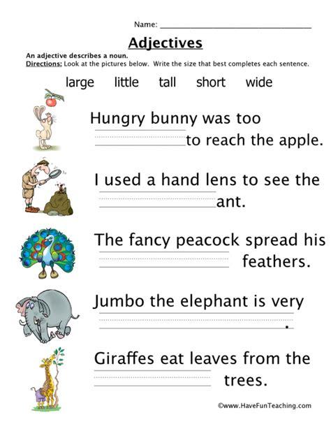 adjective worksheets worksheets