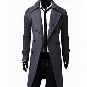 Trench Coat Homme Long : veste caban trench homme long cintre fitted fashion ~ Nature-et-papiers.com Idées de Décoration