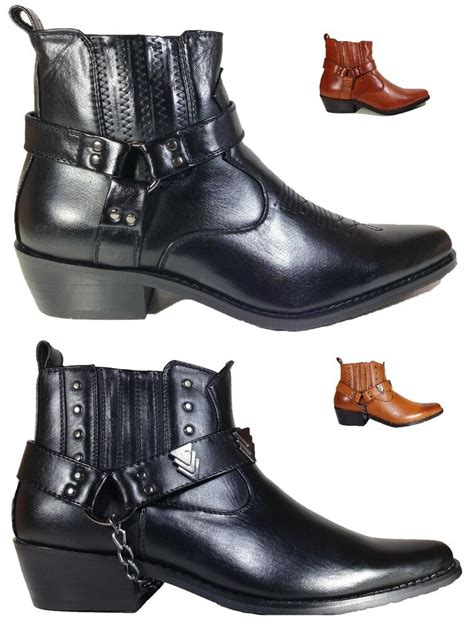 Men Black Brown Ankle Cowboy Western Boots Shoes Leather