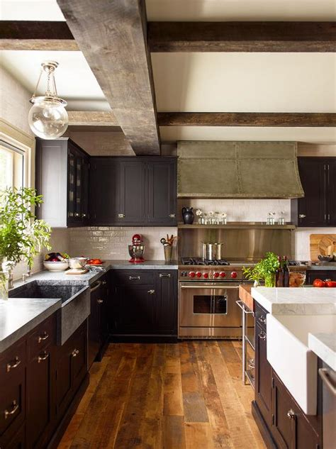 black kitchen cabinets  concrete countertops