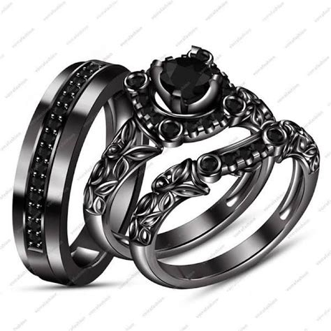 black gold wedding rings his and hers wedding rings