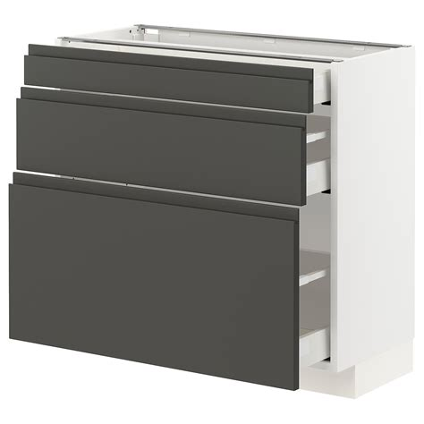 Legs and plinth are sold separately. METOD / MAXIMERABase cabinet with 3 drawerswhite, Voxtorp ...