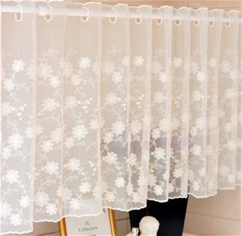 White Sheer Kitchen Curtains by 150x45cm White Lace Curtain Cabinet Kitchen Curtain Flower