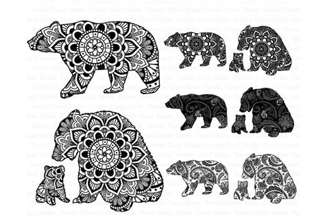 bear mandala svg mama baby bear illustrations