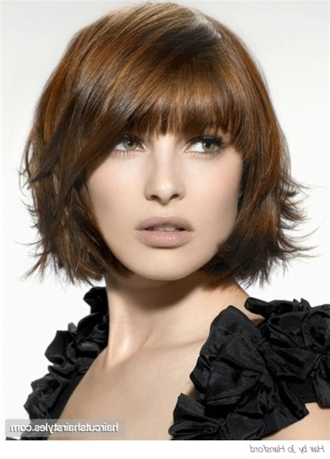 layered bob with bangs short layered bob hairstyle with