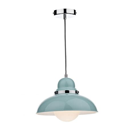 ceiling pendant light retro style pale blue on corded