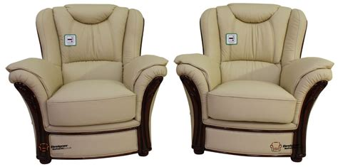 2 X Verona Genuine Italian Sofa Armchairs Cream Leather