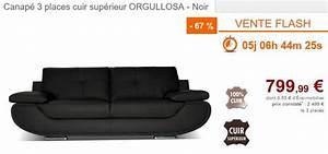 vente flash canape vente unique canape 3 places With canapé cuir pleine fleur pas cher