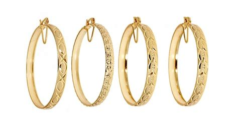styles of earrings 18kt gold plated thick bangle hoop earrings 4 styles