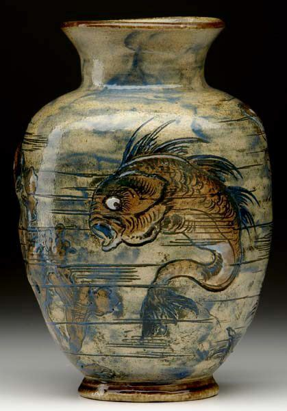 martin brothers pottery sea life vase incised painted