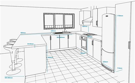 Kitchen Unit Measurements by Concept Plan Of A Kitchen With Standard Appliance And Unit