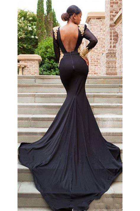 Mermaid Long Sleeves Lace V-Neck Long Black Prom Dress ...
