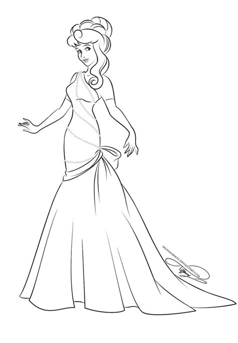 lineart glamorous fashion aurora  selinmarsou  deviantart disney princess coloring pages