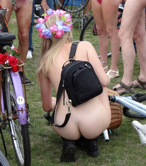 Naked Bike Ride Girl With Lovely Blonde Hairy Pussy Photo