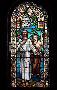 Baptism of Jesus IN Stained Glass Stock Photos ...