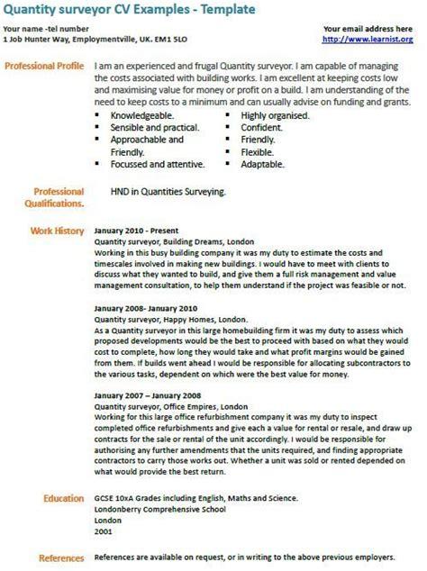 quantity surveyor cv  cv examples resume