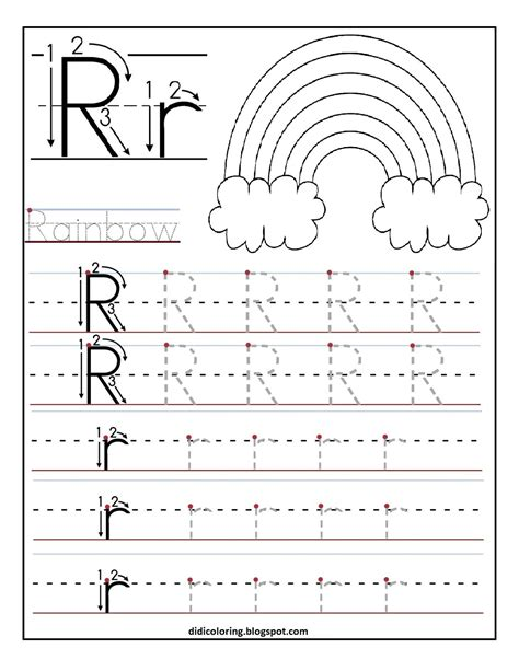 Free Printable Tracing Worksheetbest For Your Kid To Learn And Write,enjoy Writing Letter R