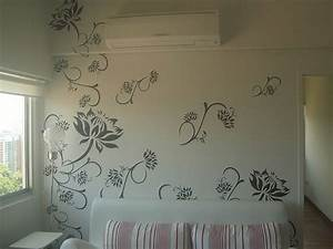 Wall paint stencil designs with house