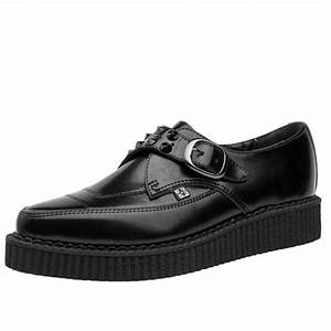 T U K  Shoes Black Leather Spiked Monk Buckle Pointed Creepers