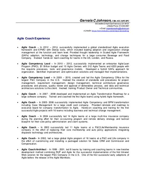 Agile Resume Experience by Gervais Johnson Agile Coach Details Resume