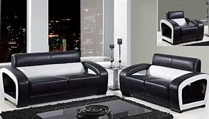 Global furniture black and white leather modern sofa for Black living room chairs