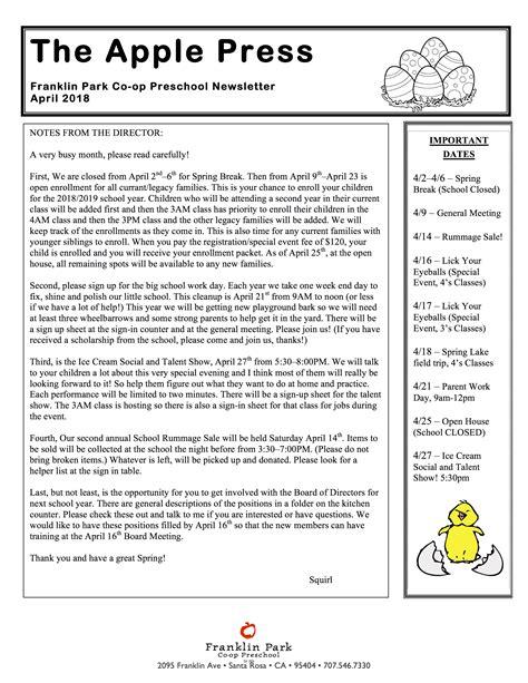 april newsletter 2018 1 franklin park co op preschool 756   April Newsletter 2018 1