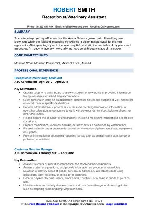 Veterinary Receptionist Resume by Veterinary Assistant Resume Sles Qwikresume