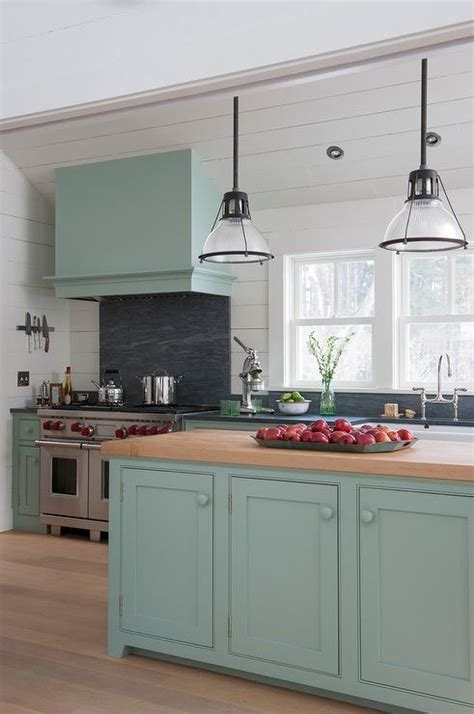 light blue kitchen hood  sloped ceiling country kitchen